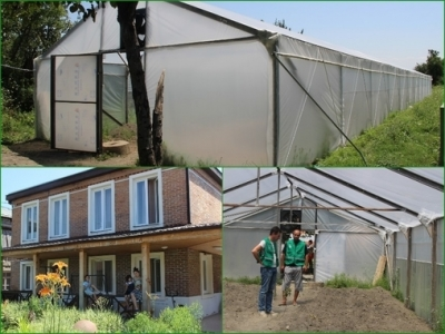 The construction of a greenhouse continues in Baisubani