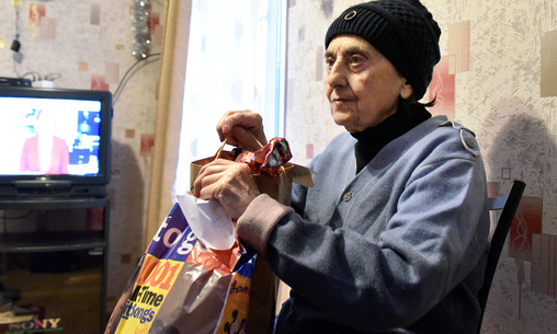Elderly people received New Year's gifts from citizens - Khurvaleti / Gori