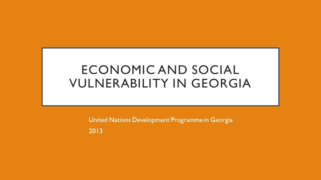 Economic and Social Vulnerability in Georgia