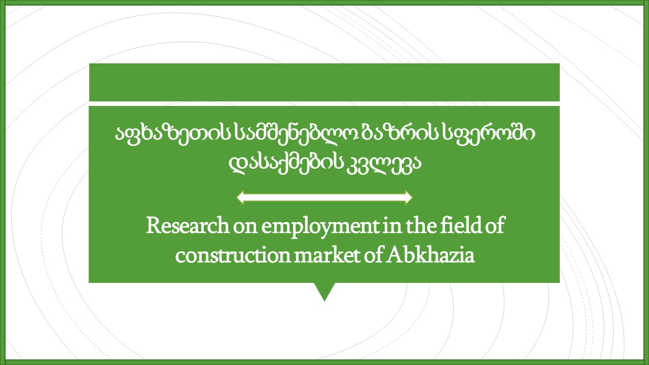 Research on employment in the field of construction market of Abkhazia